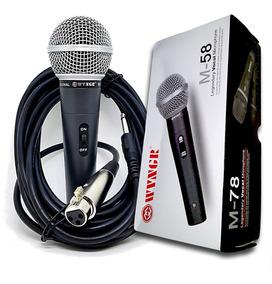 Microfone Sm-58 Profissional Com Cabo 3.5 M Liquidação!