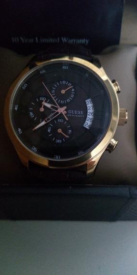 Relógio Guess Dourado Pulseira Couro