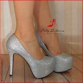 7f21c9484 Sandalia Prata Salto 15 Cm - Sapatos com o Melhores Preços no ...
