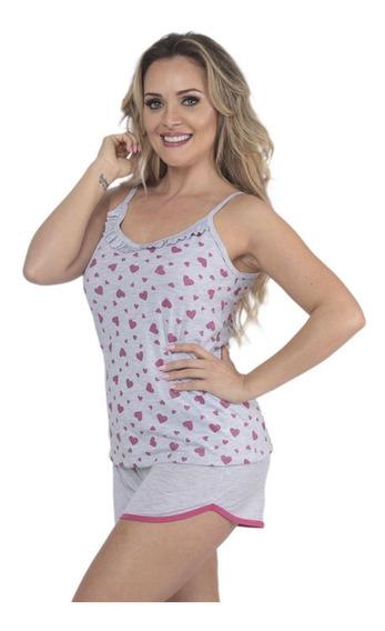 Pijama Short Doll Alcinha Glitter Feminino De Verão Victory