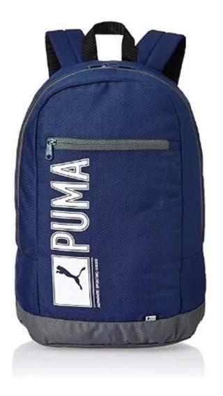 Mochila Puma Azul Marino Logo Horizontal