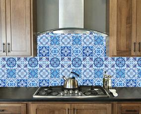 Kit 10 Placas Papel Parede Adesivo Azulejo Ladr Portugues