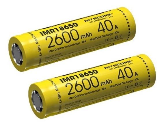 Par De Bateria Nitecore Imr 18650 2600mah 40a 3.7v High Drai