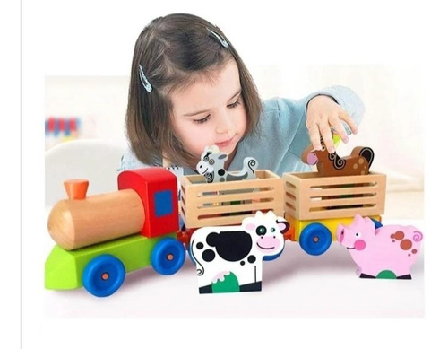 Imagen 1 de 6 de Tren De Madera Didactico Granja Y Animales Para Niños.
