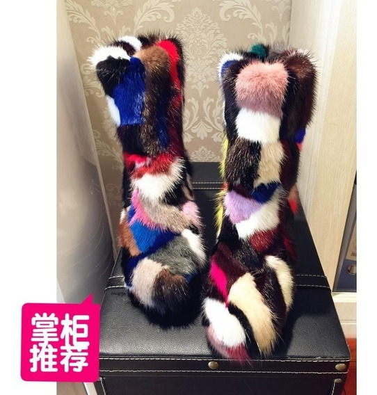 Botas De Piel Multicolor Nuevas
