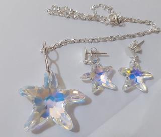 Conjunto Estrela Do Mar Cristal Swarovski Prata 925