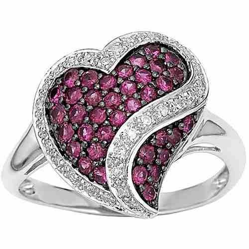 Anel De Ouro Branco Rubis E Diamantes,18k Au750.