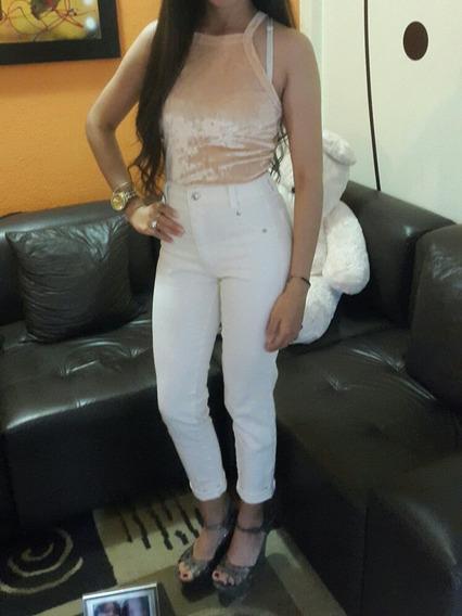Jeans Blanco Corte Alto Dama Talla S