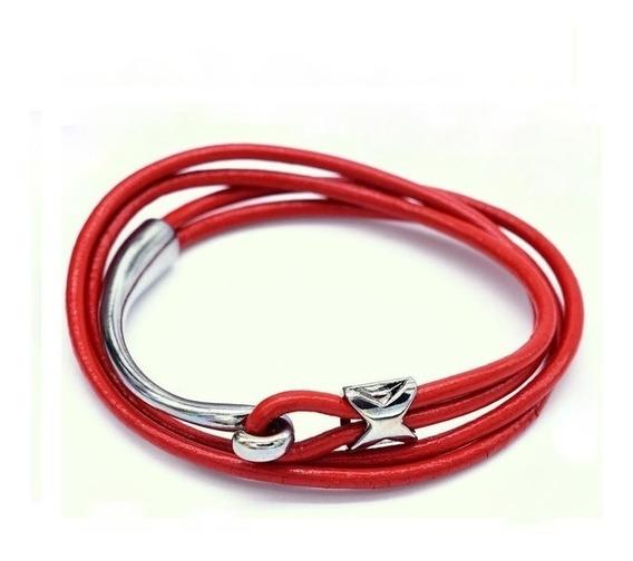 Pulseira Loop Em Couro (vermelho)