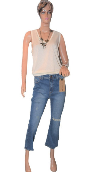 47 Street Pantalon De Jean Modelo Crop Dull Mom Fit