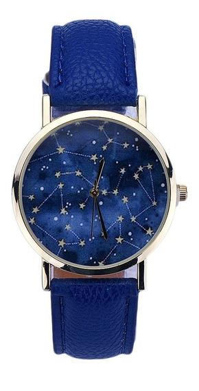 Relógio De Pulso Constelação Estrelas Céu Azul 24 Cm