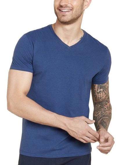 Camiseta Masculina Blusa Camisa Slim Fit Lisa Basic Gola V