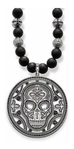 Collar Tipo Thomas Sabo Medallón De Calavera Con Obsidiana