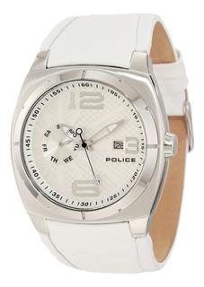 Reloj Police Hombre Cuero Blanco 100mts Pl.12675js/04 +envio