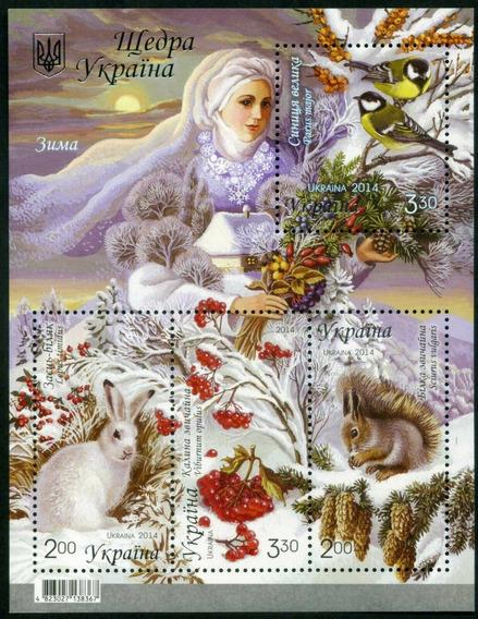 2014 Fauna Flora- Invierno- Aves- Flores- Ucrania Mnh