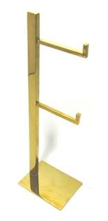 Porta Papel Higiênico De Aço Inox Dourado De Chão - Fineza