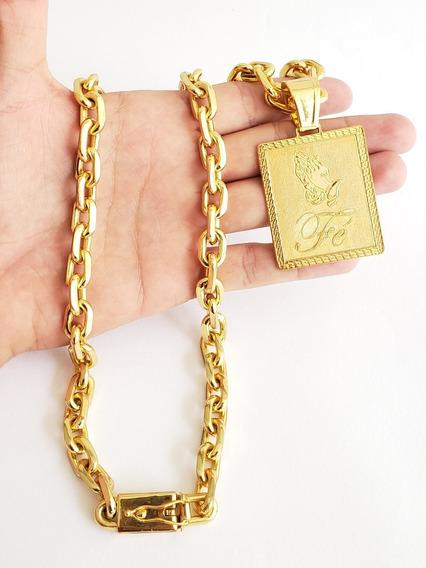 Cordão 12mm Cadeado Banhado A Ouro Com Pingente Fé Masculino
