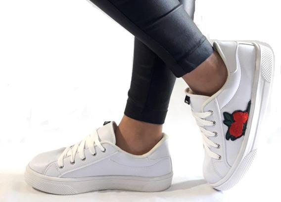Sam123 Zapatillas Talles Grandes Mujer Blancas Flor