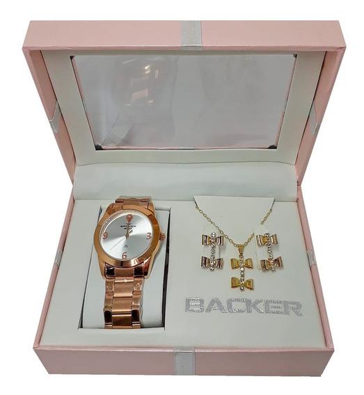 Kit Relógio Feminino Backer Rosê + Semi Joia Ba39930043f