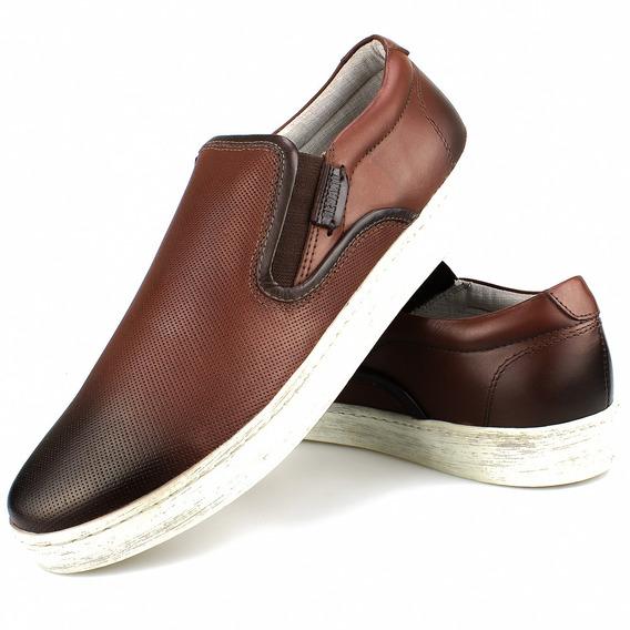 Slip Sapato Tenis Casual Masculino Em Couro Lançamento