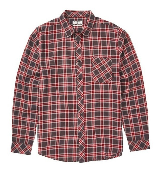 Camisa M/l Billabong Freemont Flannel Charcoal Hombre