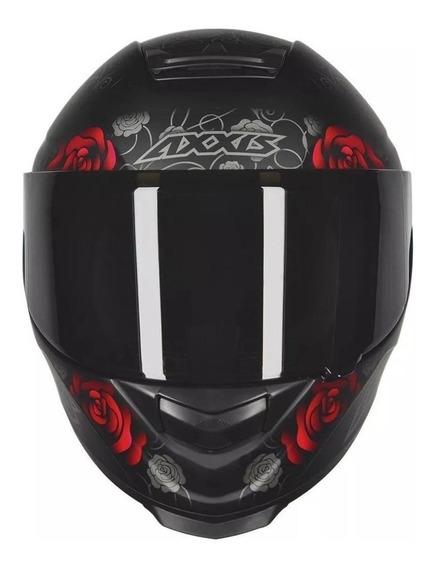 Capacete para moto integral Axxis Helmets Eagle Flowers matt black, red tamanho L