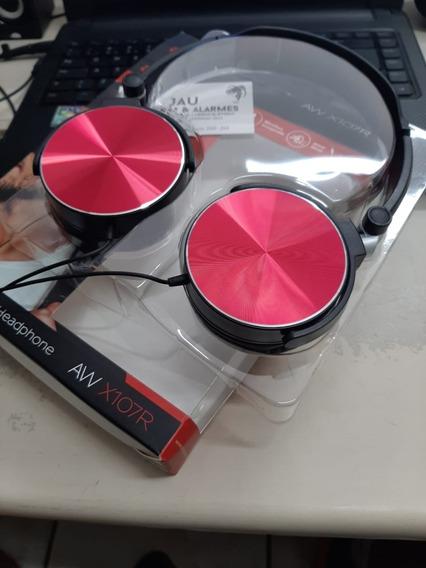 Fone De Ouvido Aiwa Aw-x107b Com Microfone - Vermelho