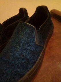 Sapatênis Zara Em Couro Iate Babuche Azul Escuro