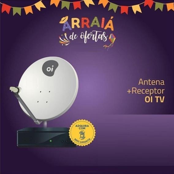 Receptor Oi Tv Livre Hd + Kit Antena 60cm Lnb Duplo 17m Fios