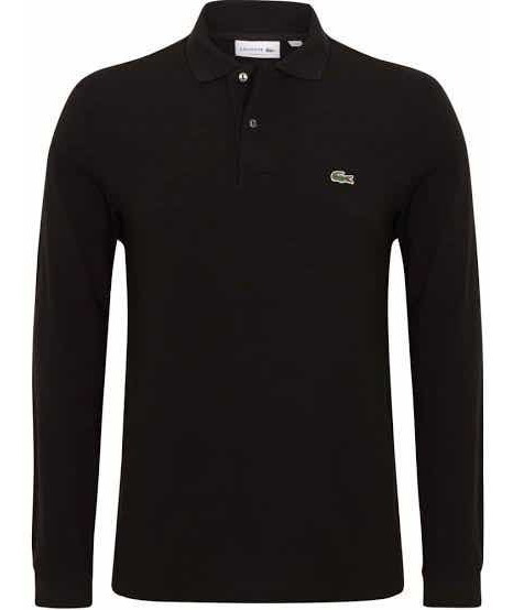 Polo Lacoste Manga Larga En Color Negro Classic Fit Original