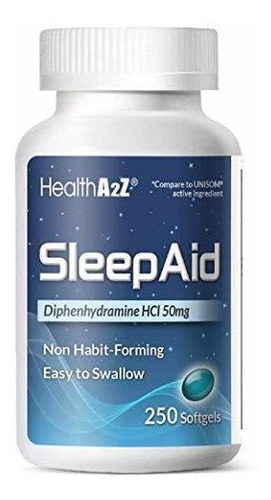 Healtha2z Sleep Aid, Difenhidramina Hcl 50 Mg, 250 Cápsulas