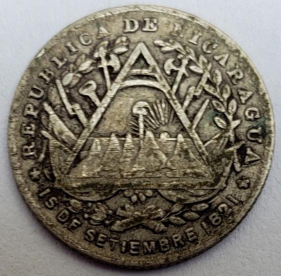Nicaragua 1887 5 Centavos Moneda Antigua De Plata 800 L24620