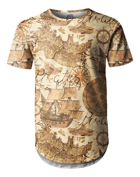 Camiseta Masculina Longline Swag Carta Geográfica