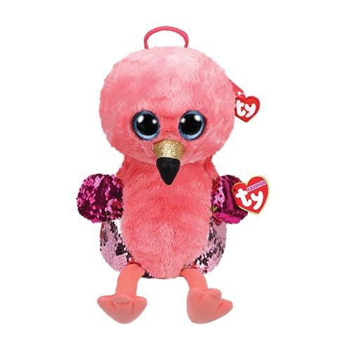 Bolsa Mochila Com Alça Ty Fashion Paetê Flamingo Gilda Dtc