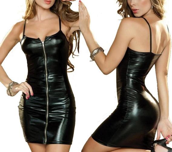 Vestido Erotico Tipo Cuero Sintetico Latex Baby Doll Negro