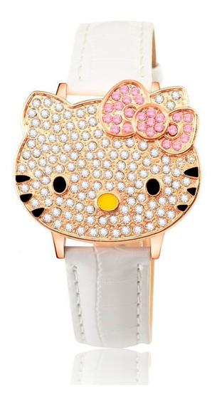Relógio De Pulso Analógico Com Strass Hello Kitty