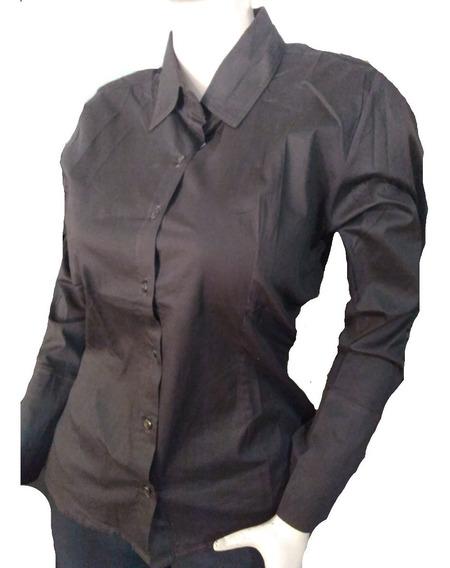 Camisas Manga Larga Unicolor De Vestir Dama L Y Xl