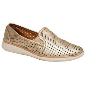 Zapatos Casual Flats Flexi Dama Piel Dorado Dtt U78447