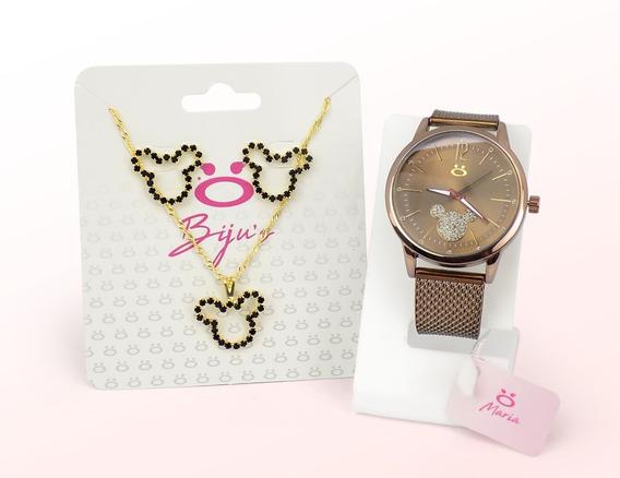 Relógio Feminino Minnie Original Gratis Colar E Brinco