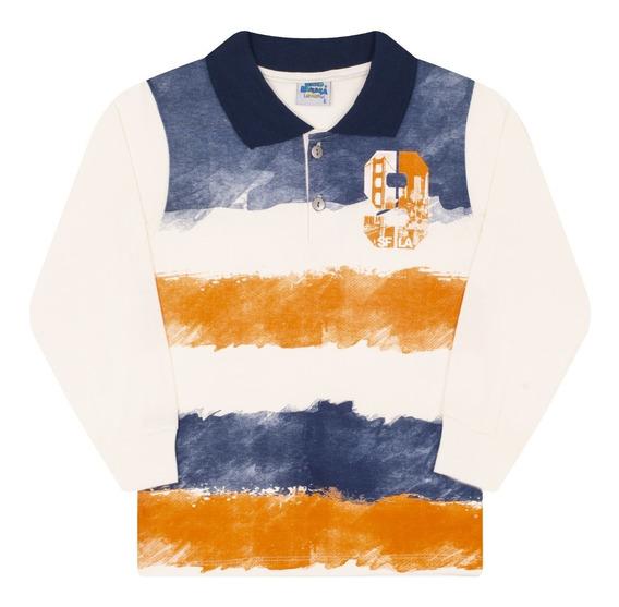 Camisa Polo Infantil Manga Longa Bicho Bagunça