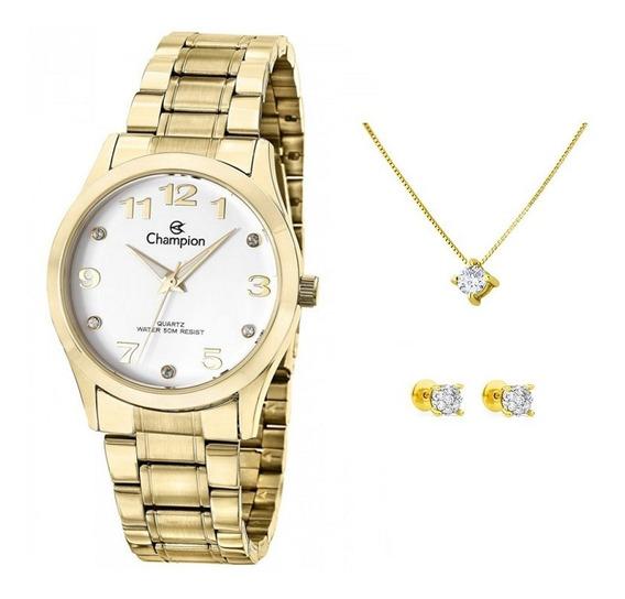 Relógio Feminino Original Champion Cod16 + Brinco E Colar