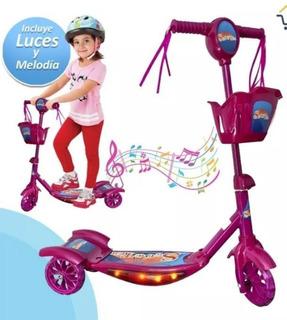 Patineta Scooter Con Canasta Luces Y Sonido