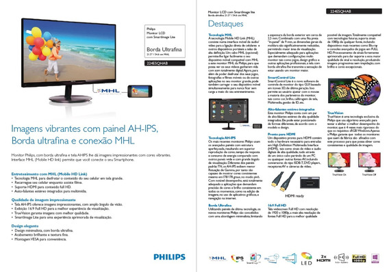 Monitor Philips 22 Painel Ah-ips - 224e5qhab