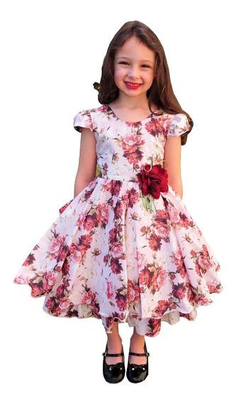 Vestido Infantil Festa Estampa Floral Marsala Luxo 6-12 P717