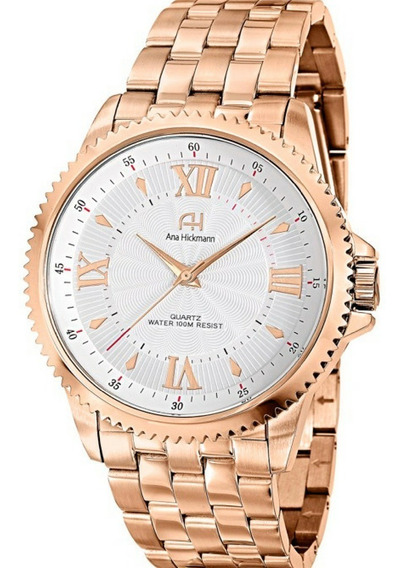 Relógio Feminino Grande Rosê Ana Hickman Original Ah28722z