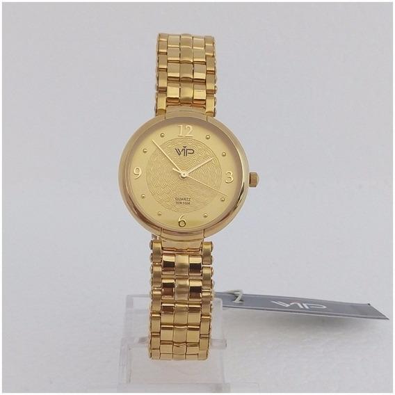 Relógio Feminino Dourado Vip Mm277 Original Banhado A Ouro 18k 12x Sem Juros