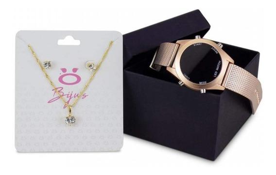 Relógio Digital Feminino Original+pulseira+par De Brincos