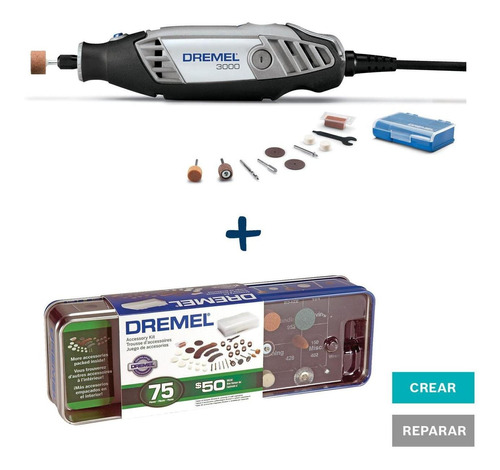 Mototool 3000+10acces+caja Metal+75 Acc Dremel Kit 3000pa +7