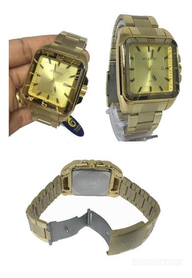 Relógio Masculino Atlantis A3375 Social Quadrado Luxo Origin