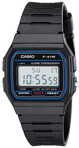 Relógio Casio Original Clássico F91w Preto/azul Borracha